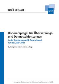 Honorarspiegel für Übersetzungs- und Dolmetschleistungen